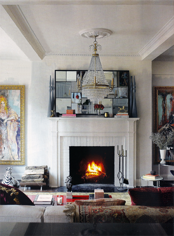 Nicole Fuller's NYC living room in LivingEtc with lime paint an plaster wall treatments by SuperStrata
