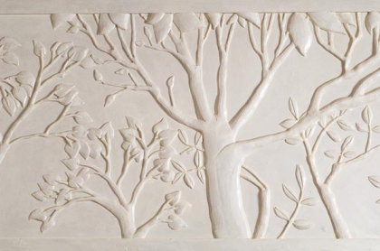 Detail of custom plaster panel atop wood paneled walls in upstate New York.