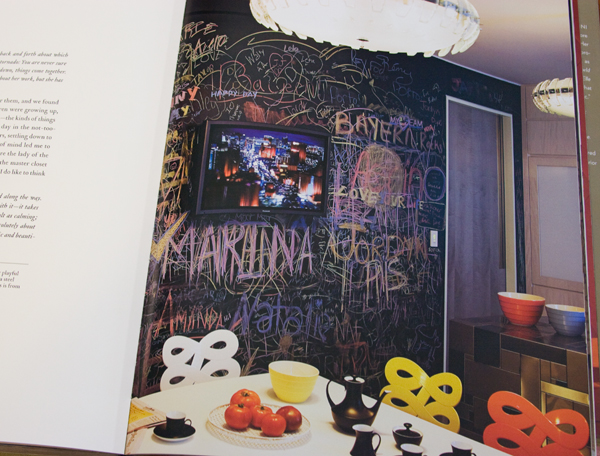 Chalkboard wall in a playful kitchen by Muriel Brandolini.