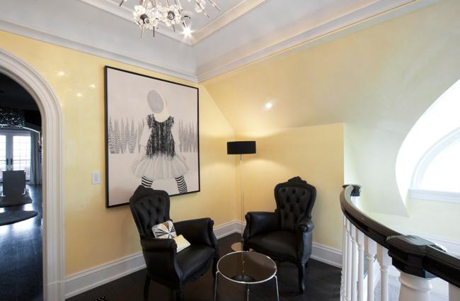 modernCustom authentic, polished yellow Venetian Plaster walls in a mezzanine.