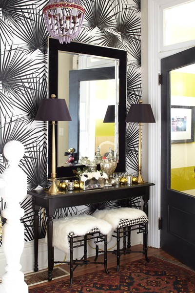 Black and White palm wallpaper in Interior Designer Meredith Heron's home