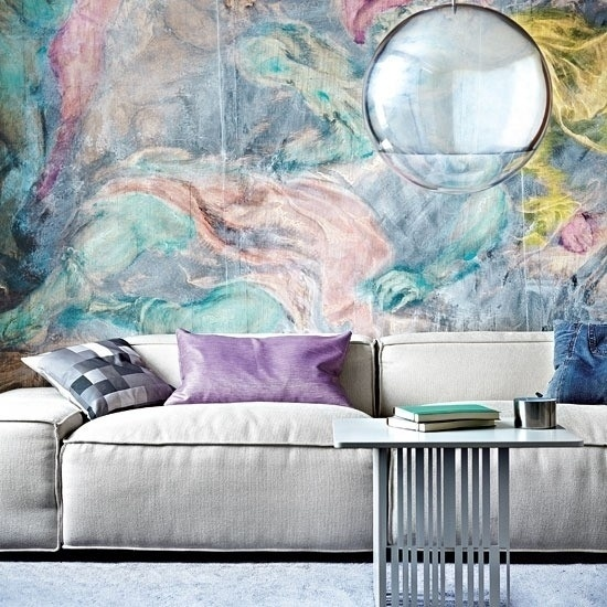 Watercolor Mural in Living Room