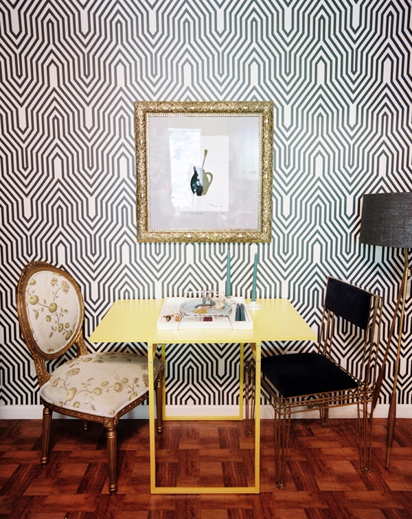 Graphic wallpaper in interior by Kelly Carter