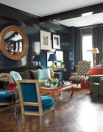 A lacquered sitting room by Interior Designer Miles Redd