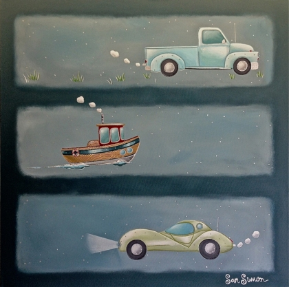 Painting with truck, boat, and car by Sam SImon