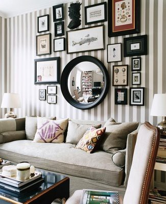 Salon style wall on stripes