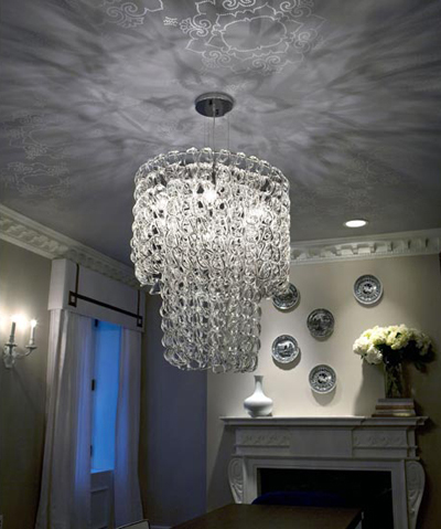 Custom ceiling finish in living room by Nicole Fuller Interiors