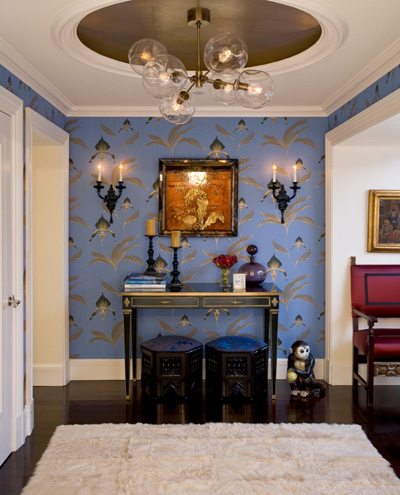 wallpaper and gold leaf ceiling by Nicole Fuller Interiors