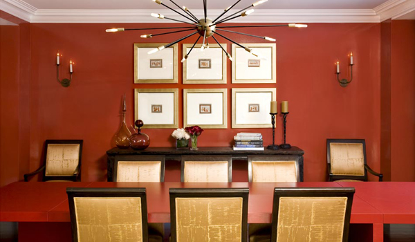 Custom wall finishing in dining room by Nicole Fuller Interiors