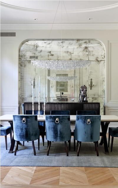 Dining Room designed by Studio William Hefner antique mirrored wall