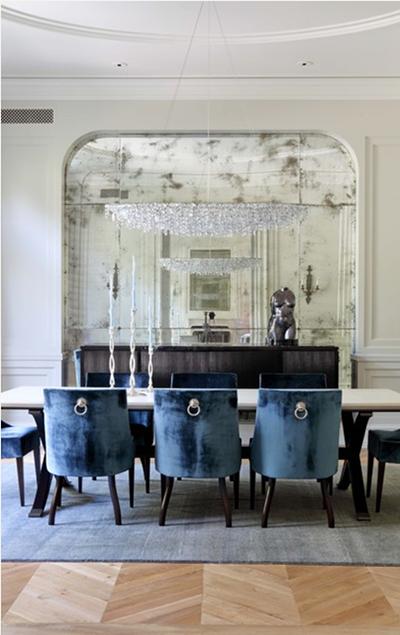 Dining Room designed by Studio William Hefner antique mirrored wall
