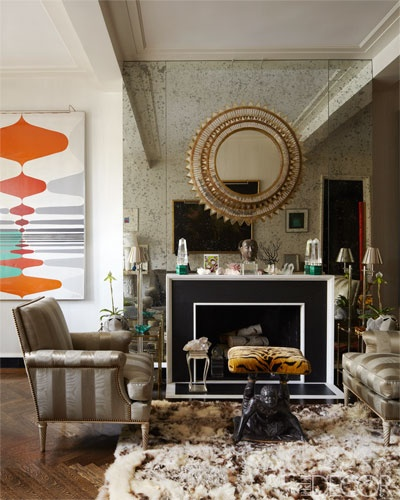 A brilliant mirrored mix by designer Todd Alexander Romano in his own Manhattan home. Photo via Elle Decor