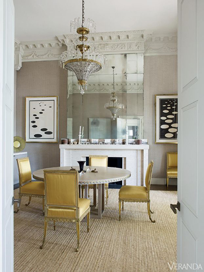 Second to last, but certainly not least! This Veere Grenney dining room is a well crafted treasure.  The solid bones of this grand 19th century London home received the royal treatment from the designer. The antiqued mirror tiles lining hearth soar to a glorious fifteen feet. Photo via Veranda
