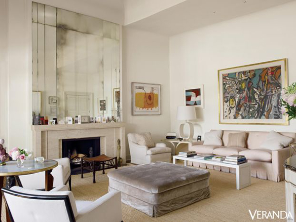 """Custom mirrors along with custom just about everything else adorn the living room of Veere Grenney's London """"discovery"""". We're thrilled we discovered it, too! Photo via Veranda"""