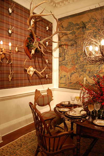 Designer Barbara Ostrom's fabulous Festival of the Stag room at Holiday House NYC 2009. Photo via Habitually Chic