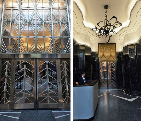 Custom Art Deco Friezes by SuperStrata top off the newly completed Walker Tower Lobby.